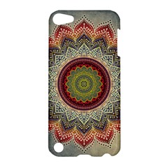 Folk Art Lotus Mandala Dirty Blue Red Apple Ipod Touch 5 Hardshell Case