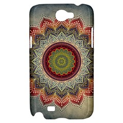 Folk Art Lotus Mandala Dirty Blue Red Samsung Galaxy Note 2 Hardshell Case