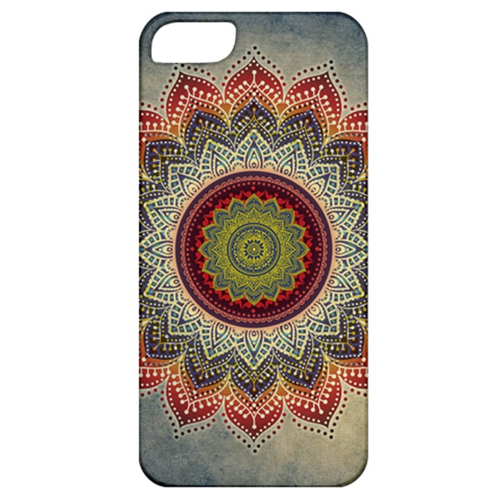 Folk Art Lotus Mandala Dirty Blue Red Apple iPhone 5 Classic Hardshell Case