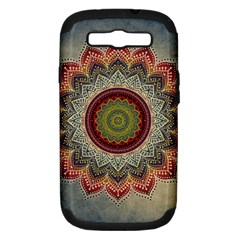 Folk Art Lotus Mandala Dirty Blue Red Samsung Galaxy S III Hardshell Case (PC+Silicone)