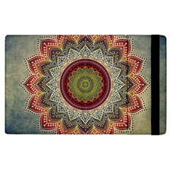 Folk Art Lotus Mandala Dirty Blue Red Apple iPad 3/4 Flip Case