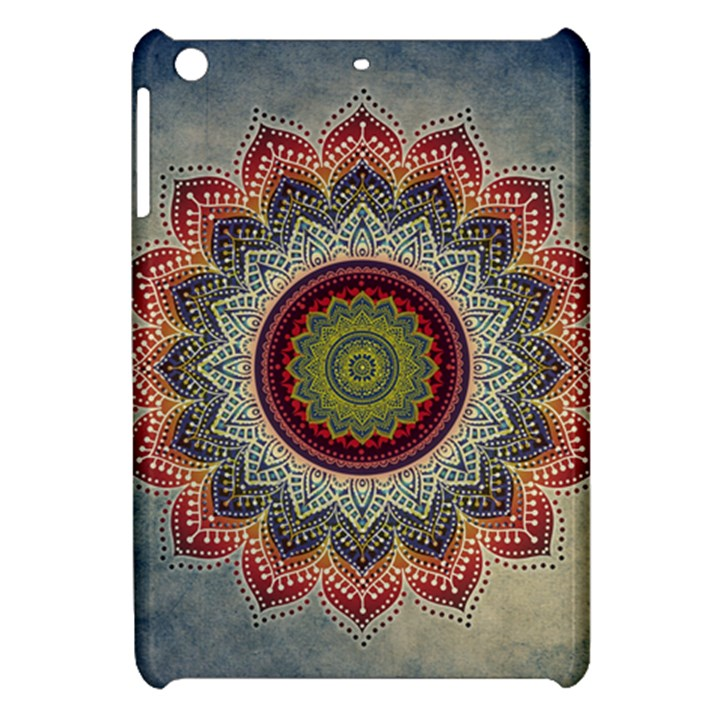 Folk Art Lotus Mandala Dirty Blue Red Apple iPad Mini Hardshell Case