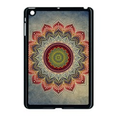 Folk Art Lotus Mandala Dirty Blue Red Apple Ipad Mini Case (black)