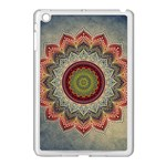 Folk Art Lotus Mandala Dirty Blue Red Apple iPad Mini Case (White) Front