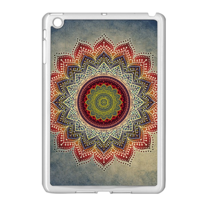 Folk Art Lotus Mandala Dirty Blue Red Apple iPad Mini Case (White)