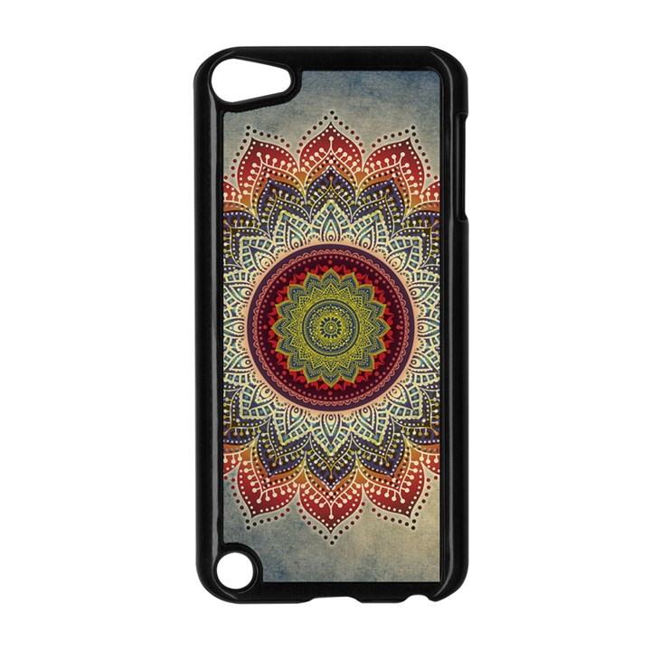 Folk Art Lotus Mandala Dirty Blue Red Apple iPod Touch 5 Case (Black)