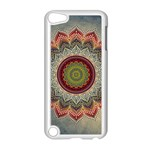 Folk Art Lotus Mandala Dirty Blue Red Apple iPod Touch 5 Case (White) Front