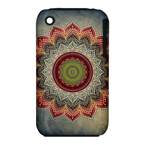 Folk Art Lotus Mandala Dirty Blue Red Apple iPhone 3G/3GS Hardshell Case (PC+Silicone)