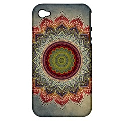 Folk Art Lotus Mandala Dirty Blue Red Apple iPhone 4/4S Hardshell Case (PC+Silicone)