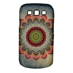 Folk Art Lotus Mandala Dirty Blue Red Samsung Galaxy S Iii Classic Hardshell Case (pc+silicone)
