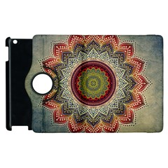 Folk Art Lotus Mandala Dirty Blue Red Apple iPad 2 Flip 360 Case