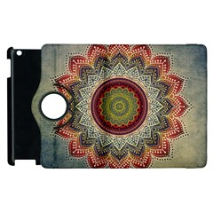 Folk Art Lotus Mandala Dirty Blue Red Apple Ipad 3/4 Flip 360 Case