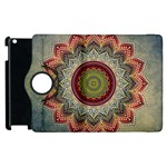 Folk Art Lotus Mandala Dirty Blue Red Apple iPad 3/4 Flip 360 Case Front