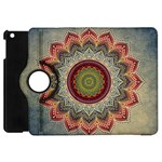 Folk Art Lotus Mandala Dirty Blue Red Apple iPad Mini Flip 360 Case Front