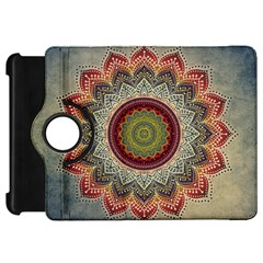 Folk Art Lotus Mandala Dirty Blue Red Kindle Fire HD Flip 360 Case