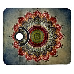 Folk Art Lotus Mandala Dirty Blue Red Samsung Galaxy Note II Flip 360 Case