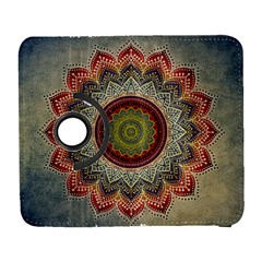 Folk Art Lotus Mandala Dirty Blue Red Samsung Galaxy S  Iii Flip 360 Case