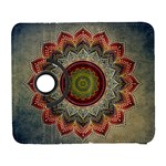 Folk Art Lotus Mandala Dirty Blue Red Samsung Galaxy S  III Flip 360 Case Front