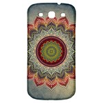 Folk Art Lotus Mandala Dirty Blue Red Samsung Galaxy S3 S III Classic Hardshell Back Case Front