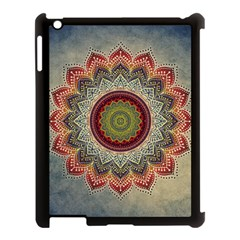 Folk Art Lotus Mandala Dirty Blue Red Apple iPad 3/4 Case (Black)