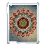 Folk Art Lotus Mandala Dirty Blue Red Apple iPad 3/4 Case (White) Front