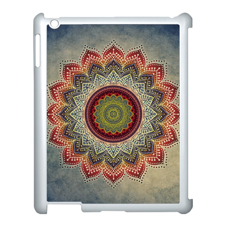 Folk Art Lotus Mandala Dirty Blue Red Apple iPad 3/4 Case (White)