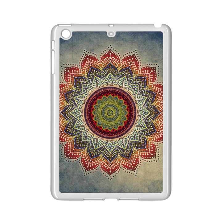 Folk Art Lotus Mandala Dirty Blue Red iPad Mini 2 Enamel Coated Cases
