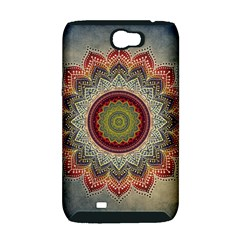 Folk Art Lotus Mandala Dirty Blue Red Samsung Galaxy Note 2 Hardshell Case (PC+Silicone)