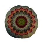 Folk Art Lotus Mandala Dirty Blue Red Standard 15  Premium Round Cushions Back