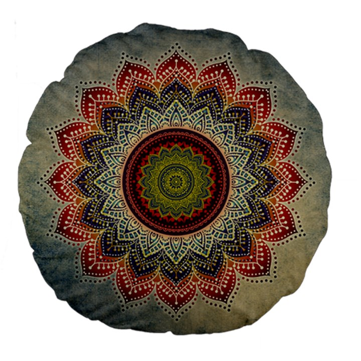 Folk Art Lotus Mandala Dirty Blue Red Large 18  Premium Round Cushions