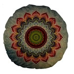 Folk Art Lotus Mandala Dirty Blue Red Large 18  Premium Round Cushions Back