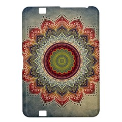 Folk Art Lotus Mandala Dirty Blue Red Kindle Fire Hd 8 9