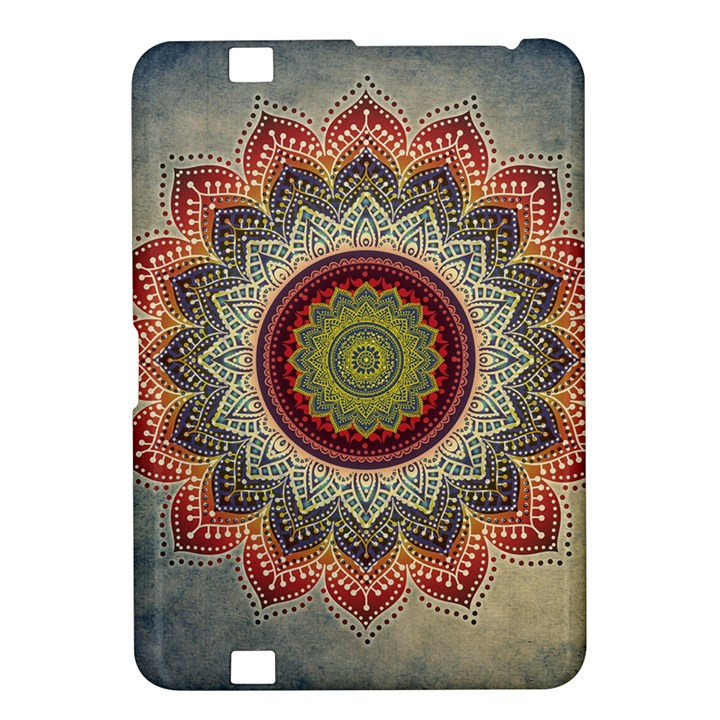 Folk Art Lotus Mandala Dirty Blue Red Kindle Fire HD 8.9