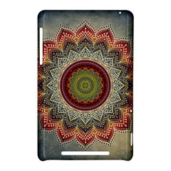 Folk Art Lotus Mandala Dirty Blue Red Nexus 7 (2012)