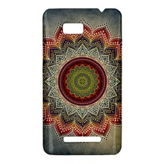 Folk Art Lotus Mandala Dirty Blue Red HTC One SU T528W Hardshell Case