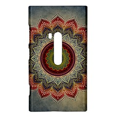 Folk Art Lotus Mandala Dirty Blue Red Nokia Lumia 920