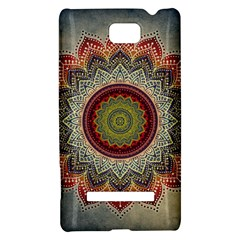 Folk Art Lotus Mandala Dirty Blue Red HTC 8S Hardshell Case