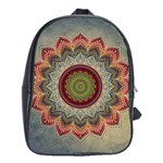 Folk Art Lotus Mandala Dirty Blue Red School Bags (XL)  Front