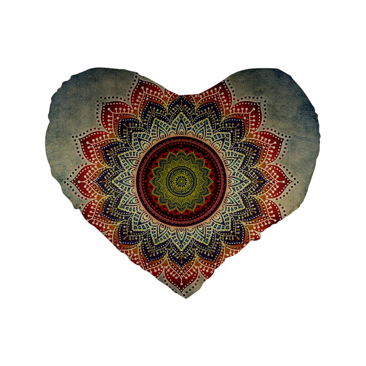 Folk Art Lotus Mandala Dirty Blue Red Standard 16  Premium Heart Shape Cushions
