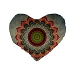 Folk Art Lotus Mandala Dirty Blue Red Standard 16  Premium Heart Shape Cushions Back
