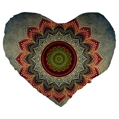 Folk Art Lotus Mandala Dirty Blue Red Large 19  Premium Heart Shape Cushions