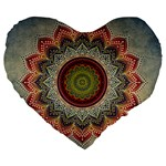 Folk Art Lotus Mandala Dirty Blue Red Large 19  Premium Heart Shape Cushions Front