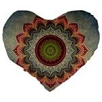 Folk Art Lotus Mandala Dirty Blue Red Large 19  Premium Heart Shape Cushions Back
