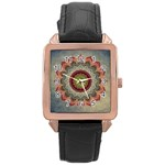 Folk Art Lotus Mandala Dirty Blue Red Rose Gold Leather Watch  Front