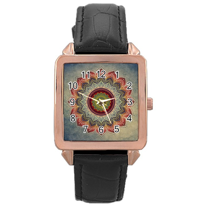 Folk Art Lotus Mandala Dirty Blue Red Rose Gold Leather Watch