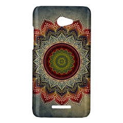 Folk Art Lotus Mandala Dirty Blue Red HTC Butterfly X920E Hardshell Case