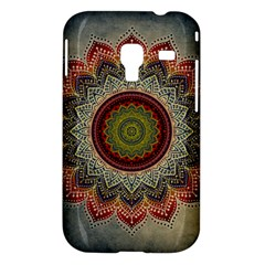 Folk Art Lotus Mandala Dirty Blue Red Samsung Galaxy Ace Plus S7500 Hardshell Case