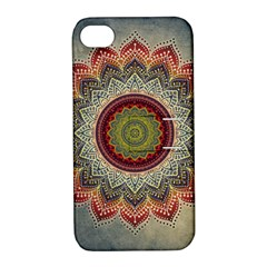 Folk Art Lotus Mandala Dirty Blue Red Apple iPhone 4/4S Hardshell Case with Stand