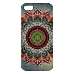 Folk Art Lotus Mandala Dirty Blue Red Apple Iphone 5 Premium Hardshell Case