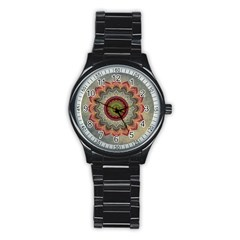 Folk Art Lotus Mandala Dirty Blue Red Stainless Steel Round Watch